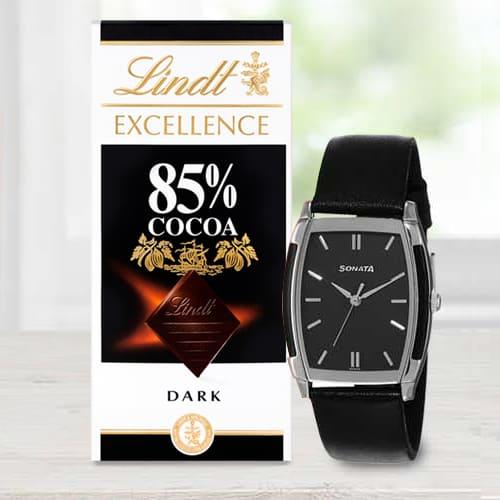 Marvelous Sonata Analog Mens Watch N Lindt Chocolate