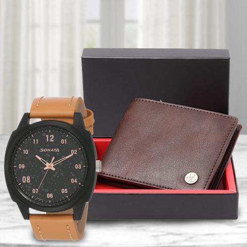 Marvelous Sonata Volt+ Analog Watch N Leather Wallet