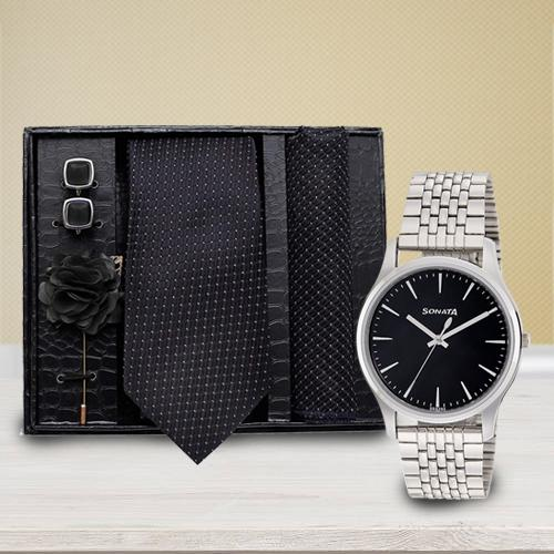 Marvelous Sonata Analog Watch N Neck Tie with Cufflinks