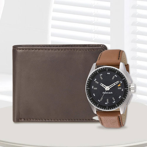 Elegant Fastrack Watch with a Brown Leather Wallet from Rich Born for Men