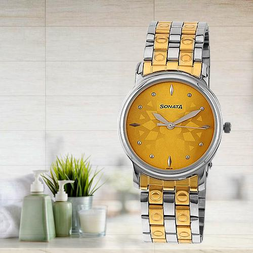 Marvelous Sonata Analog Champagne Dial Mens Watch