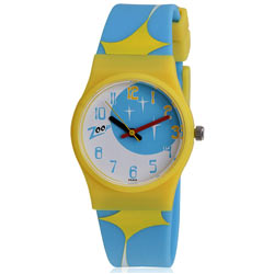 Arresting Blue and Yellow Wrist Watch for Kids Manufactured by Titan Zoop