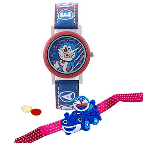 Charming Doraemon Analog Watch For Kids from Disney with Doraemon Rakhi and Roli, Tilak and Chawal.