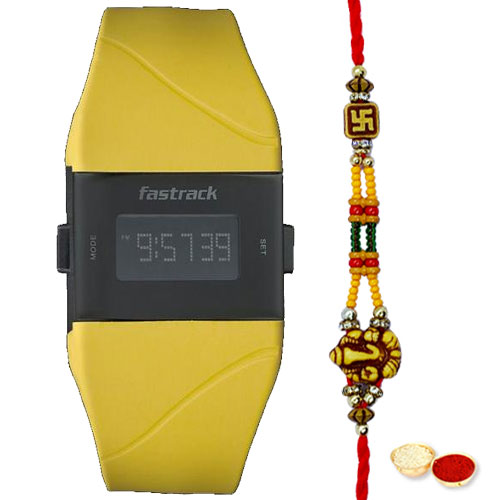 Fantastic Titan Fastrack Watch with Swastik Rakhi and Roli, Tilak and Chawal.