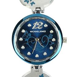 Fancy Blue Dial Metal Watch for Women