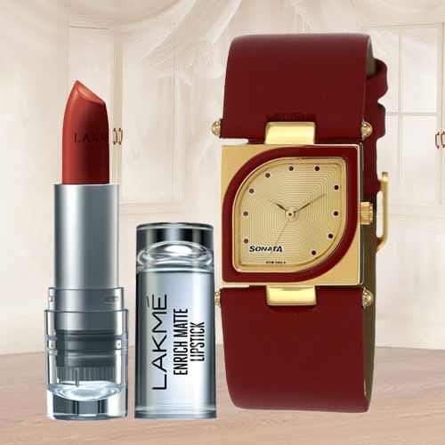 Amazing Sonata Analog Womens Watch N Lakme Lipstick