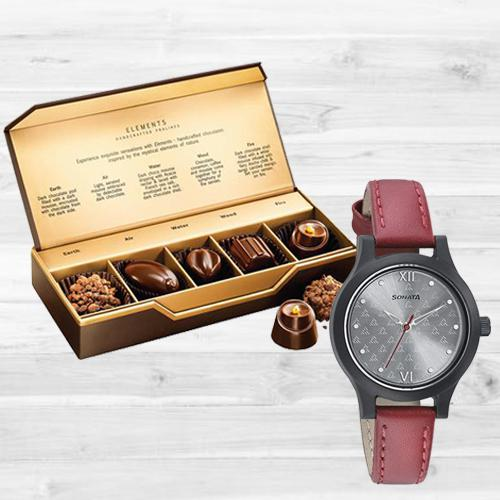 Marvelous Sonata Analog Womens Watch N Fabelle Elements Chocos