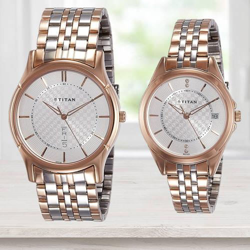Exclusive Titan Analog Silver Dial Couples Watch