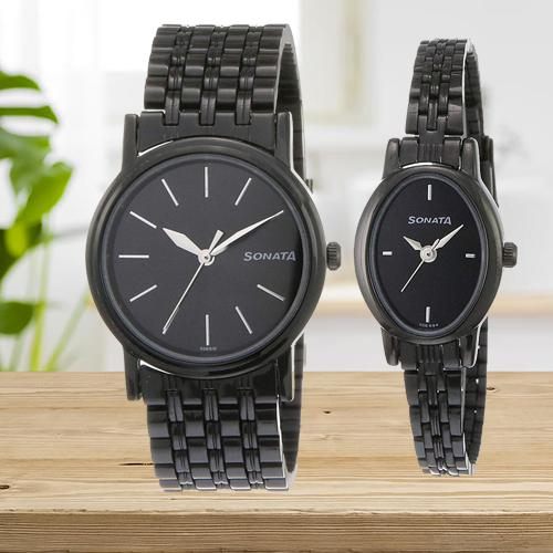 Outstanding Sonata Analog Black Dial Couple Watch