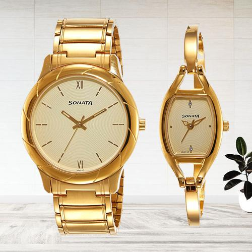 Beautiful Sonata Analog Beige Dial Couple Watch
