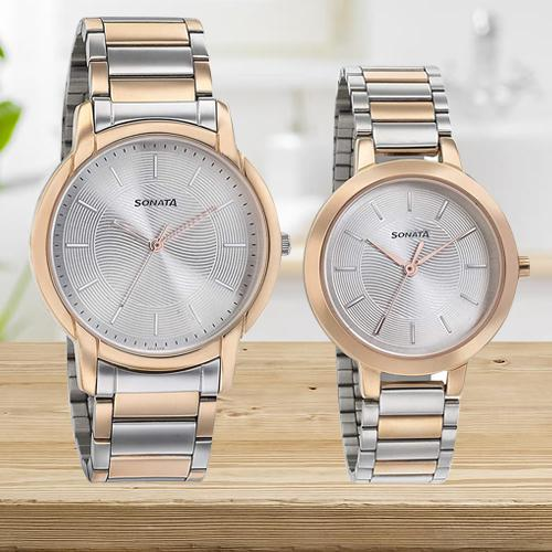 Amazing Sonata Analog Silver Dial Couple Watch