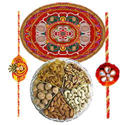 Exquisite Dry Fruits with Rakhis and Sizzling Thali