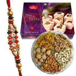 Delectable Sweets, Rakhi and Hamper of Dry Fruits