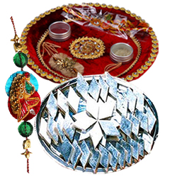 Delectable Kaju Katli of 100 gm. with Rakhi and Rakhi Thali
