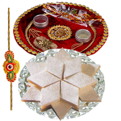 Fashionable Rakhi, Badam Katli of 100 gm. and Puja Thali