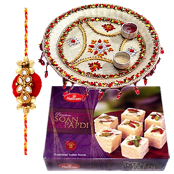 Glamorous Love Delight One Rakhi with Designer Thali and 100 gms Soan Papri