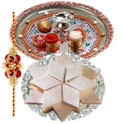 Amazing Forever in Love One Rakhi with Designer Thali and 100 gms Badam Katli