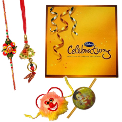 Fantastic Love Delight Cadbury Celebration Pack with 1 Bhia Bhabi Rakhi and 1 Kids Rakhi