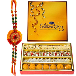 Yummy Mixed Sweets and Chocolates from Haldirams with Rakhi