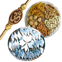 Auspicious Om Rakhi with Kaju Katli and Dry Fruits for Brother