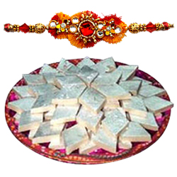 Delicious Badam Katli from Haldiram with Rakhi with Blessings