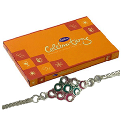 Beautiful Silver Plated Rakhi with Cadbury Celebration for Kids