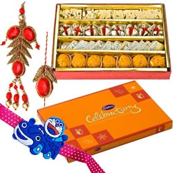 Sumptuous Haldiram Assorted Sweets with Cadbury Celebration for Brother
