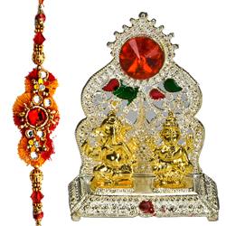 Classic Silver Ganesh Lakshmi Mandapam with Rakhi with Love
