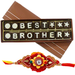 Eye-Catching Kids Special American Diamond Rakhi with Best Brother Chocolate