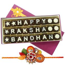 Fancy Homemade Chocolates with Om Rakhi for Celebration