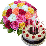 Sending Black Forest Cake From Taj / 5 Star Bakes with Mixed Roses