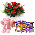 Send Excellent Roses, Cadburys Chocolate and Teddy Bear combo offer to Kerala