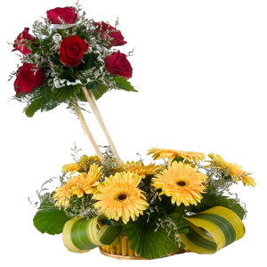 Special Arrangement of 7 Roses and 8 Gerberas Designer to India.