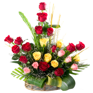 Classic Arrangement of 24 Mixed Roses in a Basket