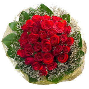 Expressive 30 Red Roses Bouquet with Full of Love