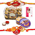 Send Ferrero Rocher Choco pack,Danish Chocolate Cookies and 2 Rakhi with Roli Tika and Chawal to Kerala