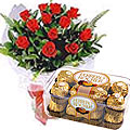 Send Impressive Red Roses and multi-layered Ferrero Rocher Chocolates to Kerala
