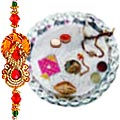 Send Wonderful Silver Plated  Pooja Thali  with 1 Free Rakhi, Roli ,Tilak and Chawal to Kerala