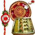 Delicious Gift of Tasteful Mixed Sweets from Haldirams and Decorative Pooja Thali