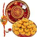 Irresistible Gift of Mouth Watering <font color=#FF0000>Haldiram</font>s Pedas with Sprinkled Kesar and Delicate Pooja Thali