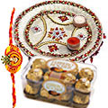 Send Relishing  Ferreo Rocher Chocolates and a special Pooja Thali with a Free Rakhi, Roli, Tilak and Chawal to Kerala