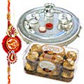 Send Tasty Crunchy Ferrero Rocher Gift Pack with Silver Plated Thali added with free  Rakhi, Roli , Tilak and Chawal to Kerala