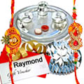 Delightful Hamper of Awe-Inspiring Silver Plated Thali, Nutty Kaju Katli of 250 Gms and a Gift Voucher from Raymond of Rs 1000