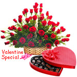 51 Exclusive <font color =#FF0000> Dutch Red </font>   Roses  Arrangement with Heart Shaped Chocolate Box