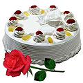 Send Yummy Vanilla Cake and charming Red Rose to Kerala